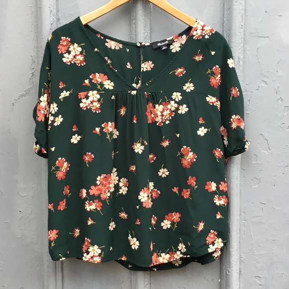 Madewell green floral top